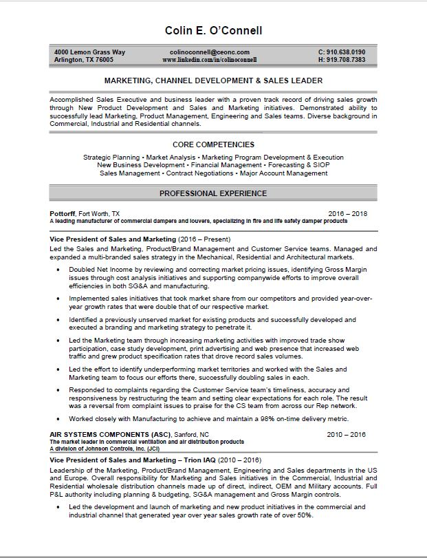 colins resume - Marketing Professional Resume